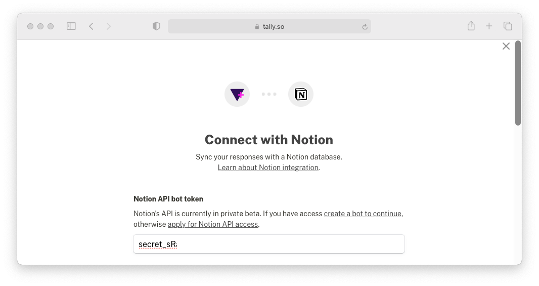 Connect your Tally form to Notion