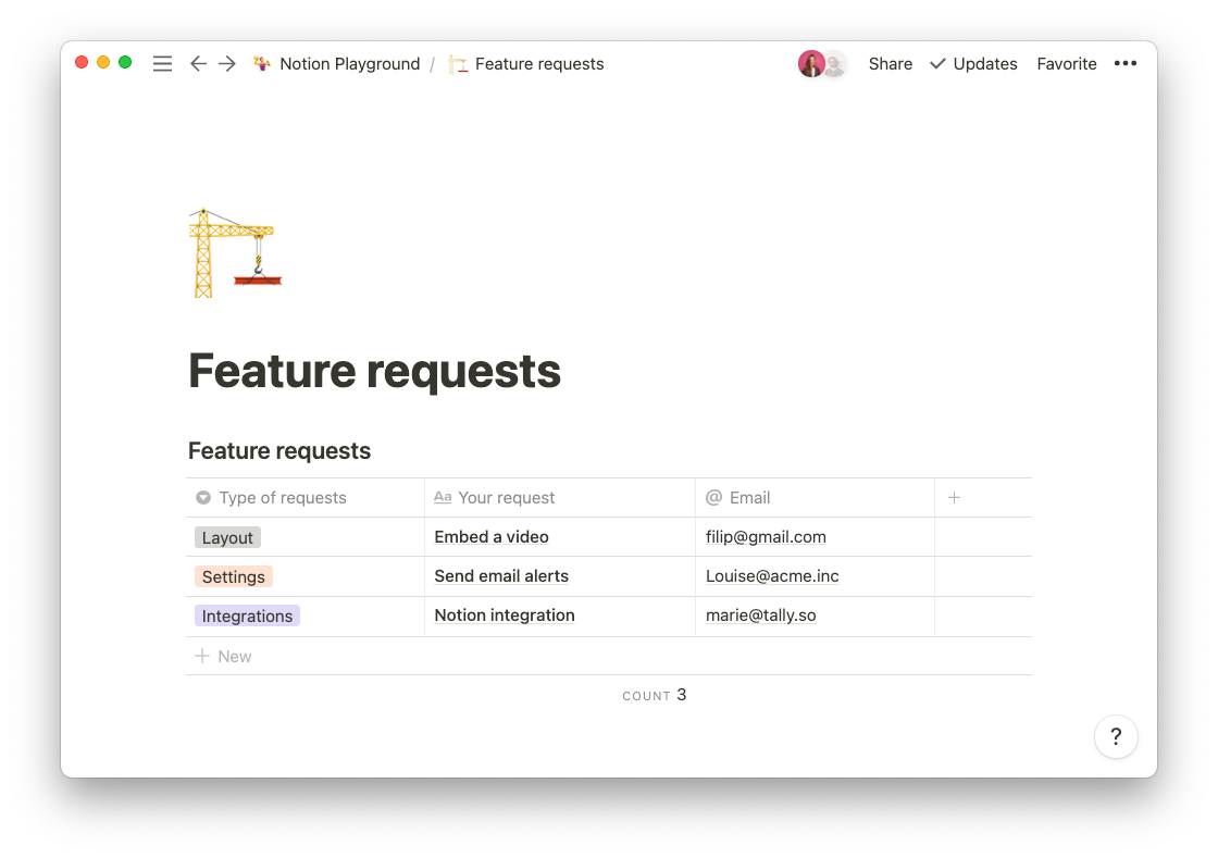 Tally form responses, synced in a Notion database
