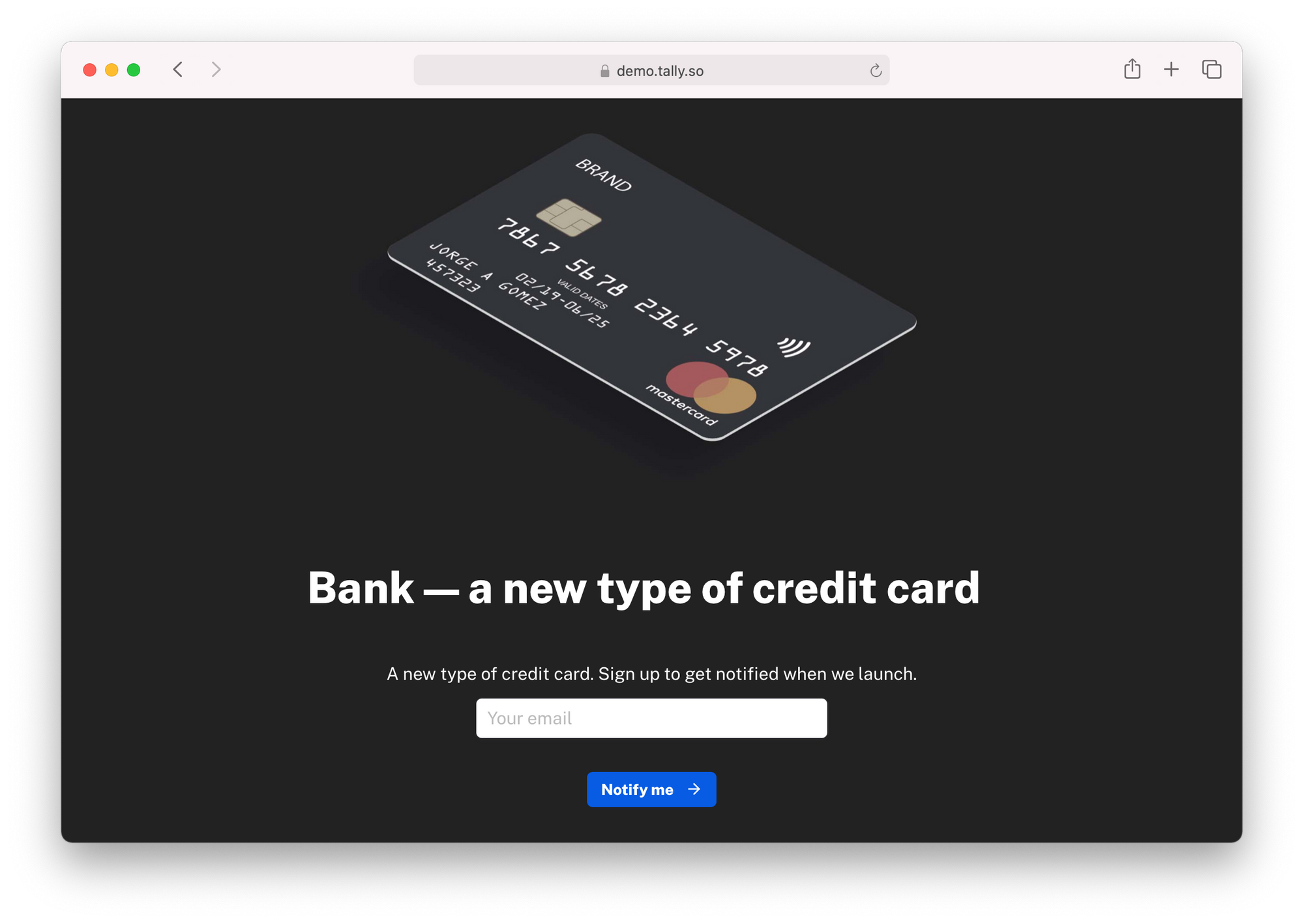 A landing page created with Tally with a sign up form
