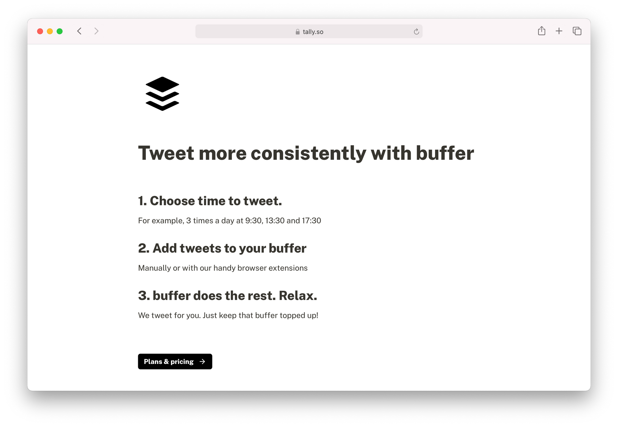 Landing page used to launch Buffer